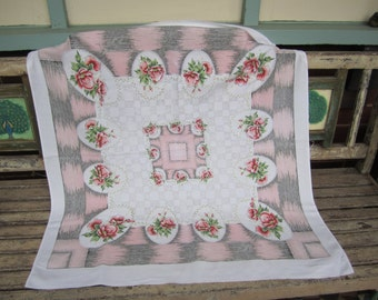 Vintage Pink Floral Tablecloth  - 1950's