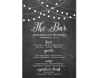 Printable Bar Menu Sign, Wedding Printable Bar Menu Sign, Wedding Bar Menu Poster, Wedding Sign, Wedding Bar Menu, Drink Menu #CL103