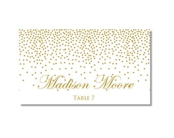 Printable Wedding Place Cards - Gold Wedding - Gold Sparkles - DIY Wedding - INSTANT DOWNLOAD - Microsoft Word #CL116