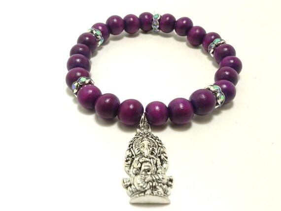 purple ganesha bracelet hindu jewelry by shamisesblissful