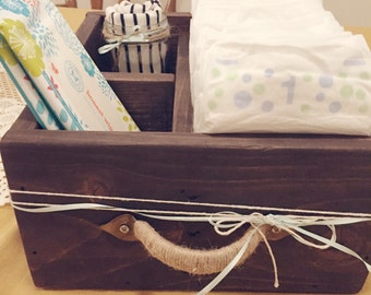 Baby Diaper Caddy, Nursery Decor, Diapering Bin, Storage Bin, Bathroom Organizer, Rustic Wood Diaper Caddy