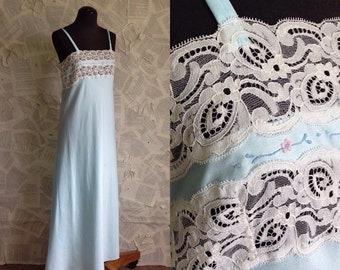 1960s Sky Blue Floor Length Silky Nightgown with lace at bust
