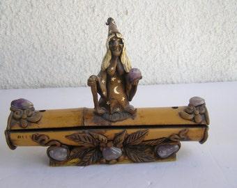 Spectacular Old Bamboo Handcraft Incense Holder Burner Stick Figurine