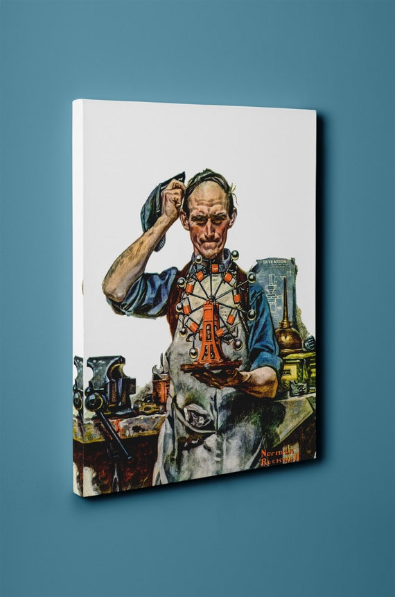 Perpetual Motion by Norman Rockwell on Mirror Wrapped Premium Canvas