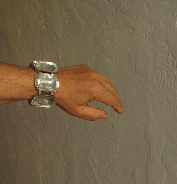 Chunky jewel bracelet, clear jewels chunky bracelet, 80s bracelet, huge faceted jewels, huge jewels, large jewels bracelet, elastic bracelet