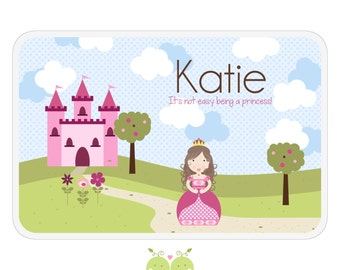 Pink Princess Placemat - Personalized Activity Placemat - Double-Sided Children's Placemat