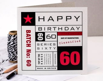 60th Birthday Card; You're 60 Card; 60th Birthday Card For Husband; 60th Birthday Card For Men; GC141