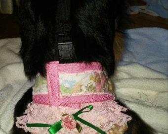 Pajama Diaper Cover w/Harness  Girl Style - Keeps diapers and pee pads ON