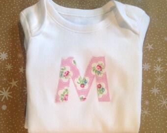 Initial Personalised Bodysuit - Hand Appliquéd Personalised Baby Bodysuit Onesie