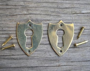 A pair of brass antique style Victorian furniture escutcheons SE2