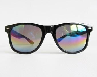 90s • Vintage • Wayfarer Sunglasses • 90s Shades • Oversized Sunglasses • Black Sunglasses • Rainbow Sunglasses • Raver Glasses • Deadstock