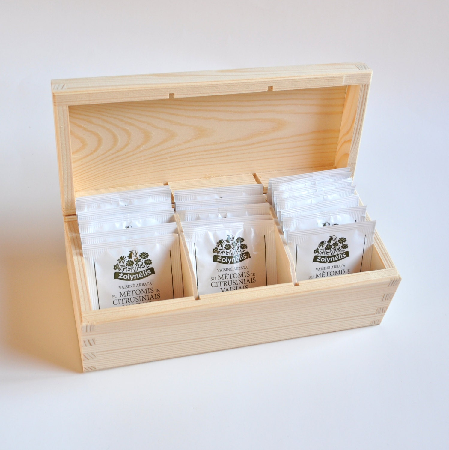 Tea Bags Wooden Box. Unfinished Wood Tea Box. 3 compartments.