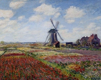 Claude Monet: Tulip Fields with the Rijnsburg Windmill. Fine Art Print/Poster. (003219)
