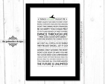 Wicked - Broadway Musical - Quotes & Lyrics - Typography - PRINT