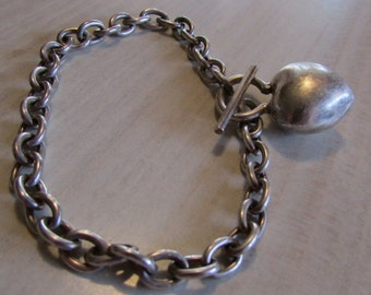 Toggle Sterling Silver Link Chain Bracelet with Dangling Puffed Heart