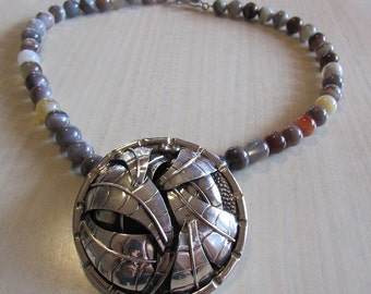 Sterling Silver Pendant from Mexico with Agate Beads  (J)