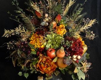 Large Tuscan Floral arrangement,Tuscany Table Centerpiece,Luxury Faux Fruit arrangement,Rustic Flower Arrangement,Silk Flower Arrangments