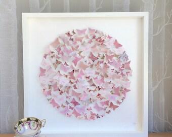 Butterfly art - vintage pink decor - birthday gift - personalised art - wedding gift list - 3D art - large frame
