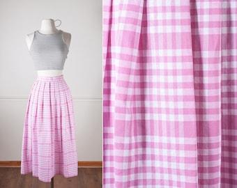 50s Style Skirt, Cute Skirt, 80s does 50s Skirt, Vintage 80s Skirt, Pink Skirt, High Waisted Skirt, Checkered Skirt, Retro Skirt, Mod Skirt