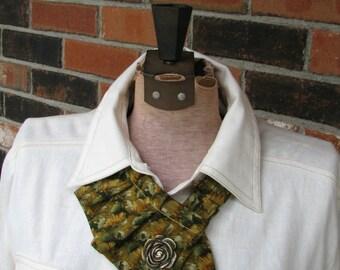 New - Pleated Ascot - Refashioned Necktie - Women's ascot