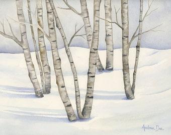 Watercolor Birch Tree Painting, Winter Birch Trees  8 x 10 Print Gray Birch Tree Wall Art