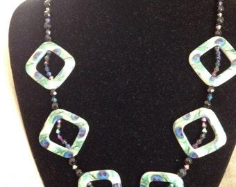 Diamond shape beaded necklace