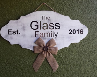 Personalized Wooden Welcome Sign- Family Name