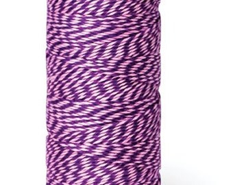 5 Meters Of Hemptique Bakers Twine In Dark Purple/Light Pink 2ply Crafting Supplies Decorations Gift Wrapping