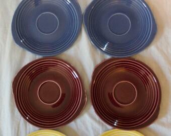 Vintage 1937, 1938 Edwin M. Knowles Yorktown Shape Teacup Saucers, Plates. Yellow, Blue, Mauve, Brunt Orange, Fiesta Colors. Vintage China