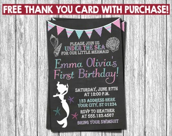 Mermaid Birthday Invitation - Under the Sea Invitations -