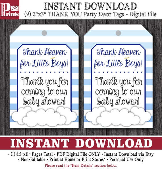 Thank Heaven For Little Boys Baby Shower Favor Tags By