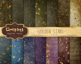 Gold Star Digital Paper, Gold star backgrounds, digital printable scrapbook paper, gold leaf gold foil star party confetti papers