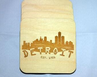Detroit Wood Coasters (set of 4) (FREE SHIPPING)