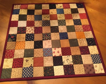 Quilted Table Topper / Primitive Table Topper / Country Quilt  Item #1379