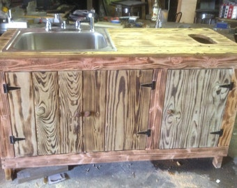 Custom Reclaimed Wood Outdoor Sink With Outlet