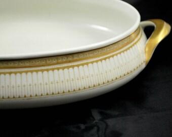 Porcelain Oval Vegetables Bowl Gold , Art Deco Style