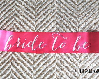 WINTER SALE - Hot Pink and White Bachelorette Party Sash - Custom Lettering Sash