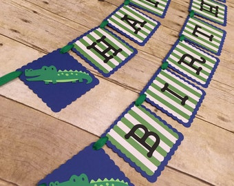 Alligator Happy Birthday Banner