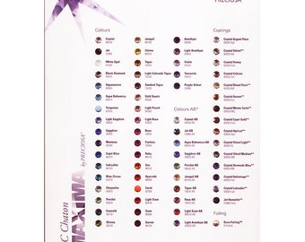 Swarovski and Preciosa Maxima colour chart for chattons and fancy stones.  Price is for 1 chart.