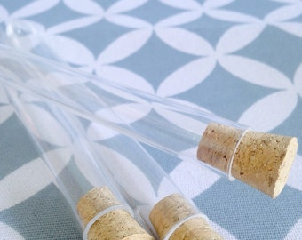 "50 x 15ml Plastic Test Tubes & Corks | 6 "" Clear Tubes for Lolly, Wedding Favors, Craft, Packaging 