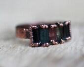 Raw Tourmaline Ring Copper Ring Multi tourmaline ring tourmaline ring Wedding ring Engagement ring Copper Gemstone ring Raw Quartz ring