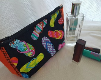 Make up Bag...With Cute Flip Flop Fabric