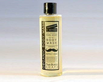 Mens Lemongrass and Ginger Organic Body Wash 200ml Vegan No SLS, Parabens or Palm Oil