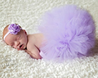 NEWBORN TUTU SET,Half Newborn Tutu, Lavender/Violet Newborn Tutu and Headband Set, Baby Shower Gift,Photography Prop