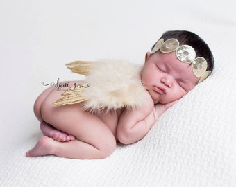 GOLD NEWBORN WINGS,Tan and Gold Feather Angel Wings,Newborn Angel Wings,Newborn Photo Shoot,Baby Shower Gift,Photography Prop,Angel Wings