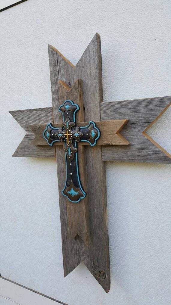 Western Reclaimed Wood Wall Cross Turquoise Cross Rustic