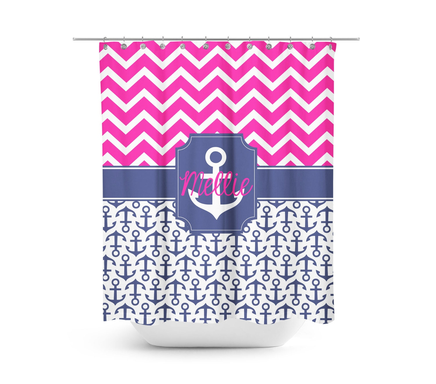 Anchor Shower Curtain Monogram Shower Curtain Personalized