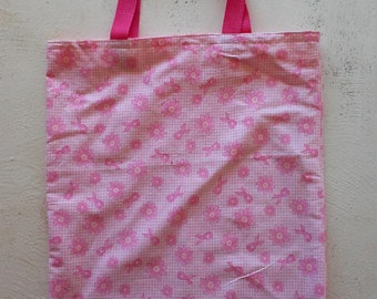 Breast Cancer Awareness, Breast Cancer Tote, Pink Ribbon Tote, Pink Ribbon Bag, Pink Tote, Book Bag, Grocery Bag