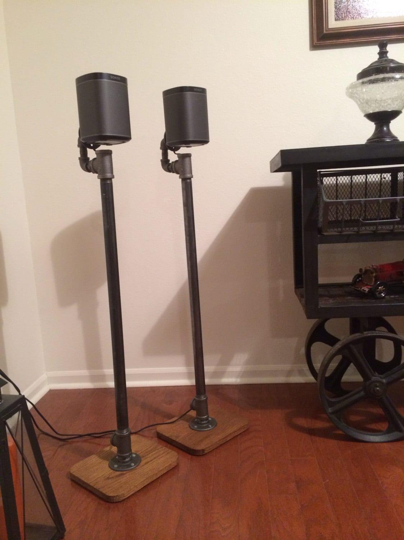 Industrial Pipe Hardwood Surround Sound Speaker Stand Pair