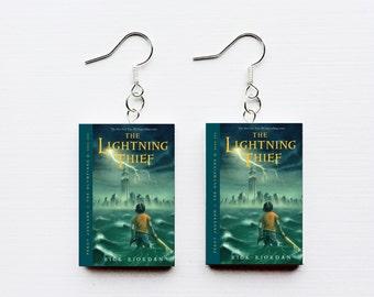 Percy Jackson the lightning thief mini book earrings